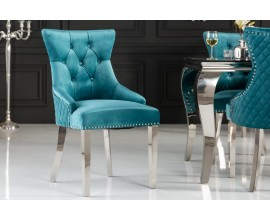 Dizajnová zámocká jedálenská stolička Eleanor so zamatovým poťahom tyrkysovej farby s kovovými striebornými nohami