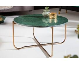 Art-deco kruhový konferenčný stolík Noble zelenej farby z mramoru 62cm