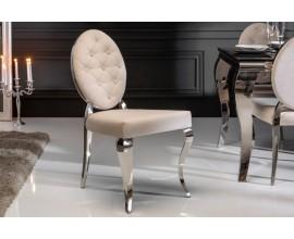 Dizajnová béžová jedálenská stolička Modern Barock s kovovou konštrukciou