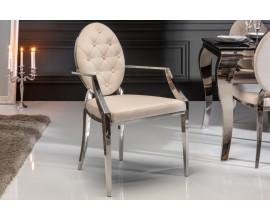 Štýlová jedálenská stolička Modern Barock v béžovej farbe zo zamatu