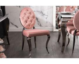 Zámocká jedálenská stolička Modern Barock s ružovým poťahom a striebornými nožičkami 92cm