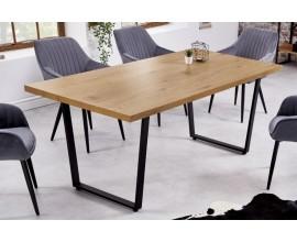 Industriálny jedálenský stôl Westford s hnedou drevenou doskou a čiernou konštrukciou 180cm