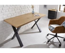 Dizajnový kancelársky stôl Westford z dreva hnedej farby a s čiernou kovovou konštrukciou