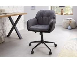 Moderná kancelárska stolička Dex so sivým poťahom z mikrovlákna na koliečkach