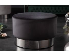 Moderná kruhová  taburetka Modern Barock čiernej farby s kovovým podstavcom 55cm