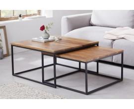 Moderný set dvoch konferenčných stolíkov Elements z dreva a kovu