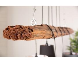 Dizajnová industriálna závesná lampa Elegans z dreva hnedej farby s piatimi tienidlami