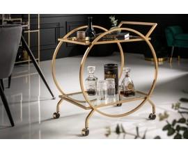 Art-deco servírovací vozík Eastwood zlatej farby kruhového tvaru 80cm