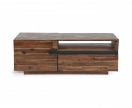 Moderný konferenčný stolík Alana z masívneho akáciového dreva s poličkami a dvierkami 115cm