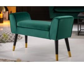 Dizajnová art-deco lavica Karen zo zamatu v zelenej farbe so zlatými nožičkami