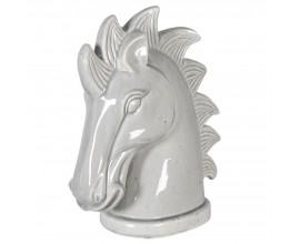 Štýlová keramická dekorácia Horse head bielej farby