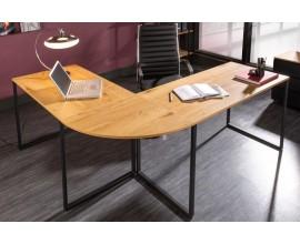 Moderný rohový kancelársky stôl Big Deal hnedej farby s kovovými nohami 180cm
