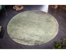 Dizajnový kruhový koberec Adassil vo vintage štýle zeleno-béžovej farby