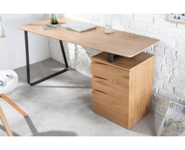 Škandinávsky písací stolík Linden z dreva a kovu s tromi zásuvkami 160cm