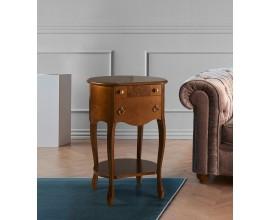 Luxusný rustikálny príručný stolík Castilla s oblým tvarom a dvomi zásuvkami 50cm