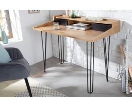 Štýlový písací stôl Linden z dreva a kovu so zásuvkami a poličkou