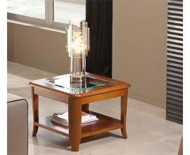 Luxusný rustikálny príručný stolík Carmen I z masívu hnedý štvorcový s poličkou 60cm