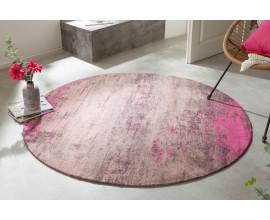 Dizajnový okrúhly koberec Vernon z bavlny ružovo-béžovej farby 150cm
