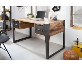 Dizajnový industriálny masívny pracovný stôl Factory so štyrmi zásuvkami v hnedej farbe s čiernou konštrukciou obdĺžnikový 135cm