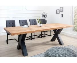 Industriálny nadčasový jedálenský stôl z dubového masívu Steele Craft hnedý s čiernymi kovovými nohami obdĺžnikový 200cm