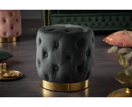 Štýlový okrúhla taburetka Modern Barock v šedej farbe so zlatým kovovým podstavcom
