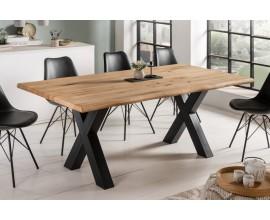 Industriálny jedálenský stôl Andala z masívneho dreva s čiernymi kovovými nohami 200cm