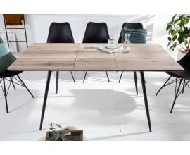 Dizajnový retro jedálenský stôl Roanne vo farbe dubového dreva s rozkladacím mechanizmom a s čiernymi kovovými nohami