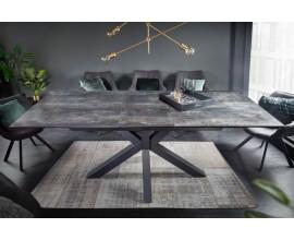 Industriálny rozkladací obdĺžnikový jedálenský stôl Callandra z keramickou povrchovou doskou a kovovými nohami 180-225