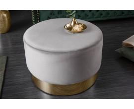 Moderná kruhová taburetka Modern Barock sivej farby so zlatým kovovým podstavcom 55cm