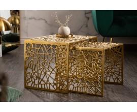 Art-deco set štvorcových konferenčných stolíkov Hoja zlatej farby