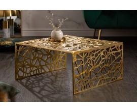 Art-deco štvorcový konferenčný stolík Hoja v zlatej farbe z kovu 60cm