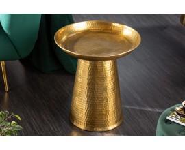 Orientálny príručný stolík Hammerblow zlatej farby s okrúhlou podstavou 45cm