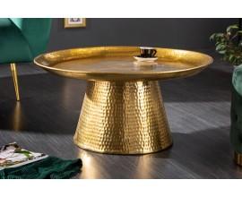 Dizajnový orientálny konferenčný stolík Hammerblow kruhového tvaru v zlatej farbe s okrúhlou podstavou