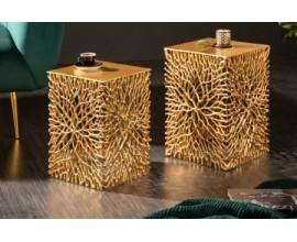 Art-deco štýlový set dvoch štvorcových príručných stolíkov Hoja v zlatej farbe
