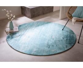 Retro dizajnový kruhový koberec Adassil tyrkysovej farby 150cm
