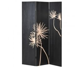 Moderný, dizajnový paraván v čiernej farbe s jemnými detailmi
