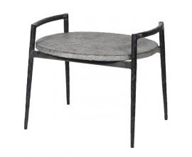 Industriálny oválny príručný stolík Blue Stone so sivou kamennou doskou a s čiernou konštrukciou 60cm