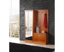 Luxusná masívna chodbová zostava Carmen v hnedej farbe s vysokou zrkadlovou skriňou, dreveným botníkom a vešiakom