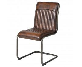 Kožená vintage jedálenská stolička Bard s hnedým čalúnením a kovovými nohami 93cm