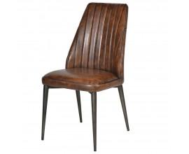 Kožená vintage jedálenská stolička Bard s hnedým čalúnením  91cm
