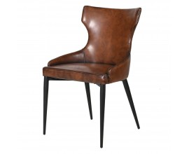 Kožená vintage jedálenská stolička Bard s čalúnením hnedej farby 89cm