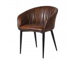 Kožená vintage jedálenská stolička Bard s hnedým okrúhlym poťahom 76cm