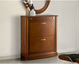 Luxusný rustikálny botník Carmen I z masívneho dreva hnedej farby so zásuvkou 88cm