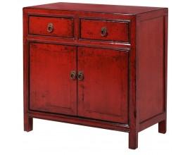 Vintage červená skrinka Rojada s dvierkami a dvomi zásuvkami 68cm