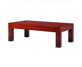 Vintage červený konferenčný stolík Rojada z masívneho dreva 140cm