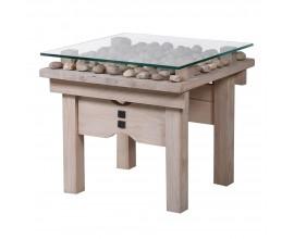 Orientálny dizajnový príručný stolík Piedroja so sklenenou vrchnou doskou 60cm
