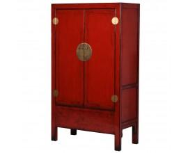 Vintage skriňa Rojada v červenej farbe z masívu so štyrmi poličkami 188cm