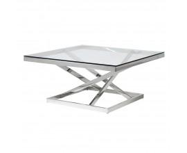 Chrómový dizajnový konferenčný stolík Cromia zo skla štvorcového tvaru 100cm