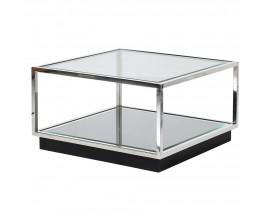 Chrómový dizajnový konferenčný stolík Cromia zo skla štvorcového tvaru 65cm