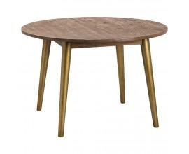 Retro okrúhly retro jedálenský stôl HAVANA ORO so zlatými nohami 120cm